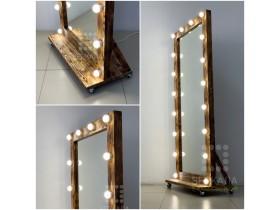"""Выполненная работа: гримерное зеркало 180х80 с подсветкой буквой """"П"""" 18 ламп (г. Кемерово)"""
